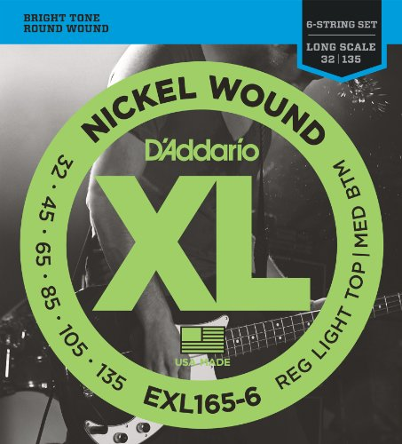 51NQ3SjJ6iL - D'Addario EXL165-6 6-String Nickel Wound Bass Guitar Strings, Custom Light, 32-135, Long Scale