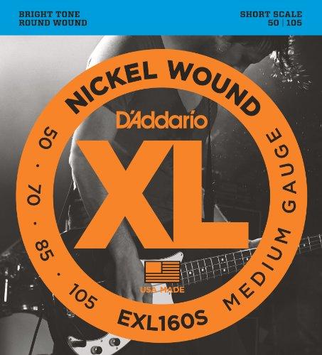 51lUxGsnBNL - D'Addario EXL160S Nickel Wound Bass Guitar Strings, Medium, 50-105, Short Scale