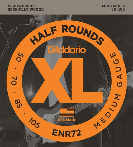 51vpwqVnhBL - D'Addario ENR72 Half Round Bass Guitar Strings, Medium, 50-105, Long Scale