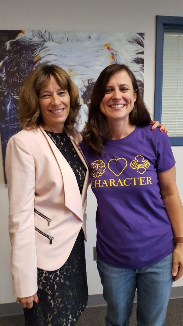 Photo: Joyce Stewart, Everett School District and WASA Leadership Award winner with Teacher of the Year Becky Kitzman