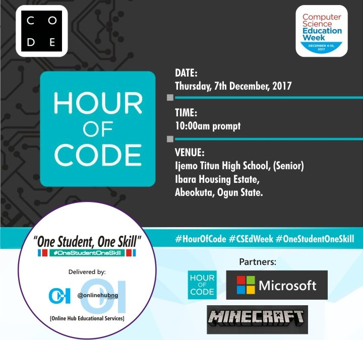 2017 Computer Science Education Week: Microsoft Nigeria supports @OnlineHubNG in Abeokuta to train over 1,000 students on coding