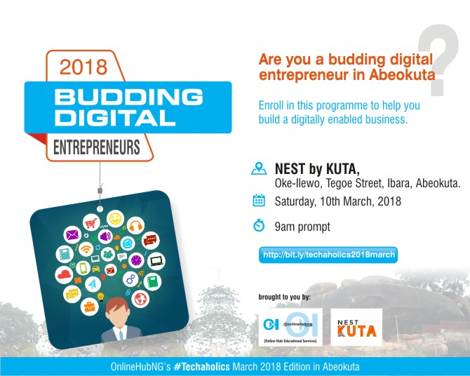Plan to Attend Another Edition of OnlineHubNG's #Techaholics in Abeokuta on March 10th