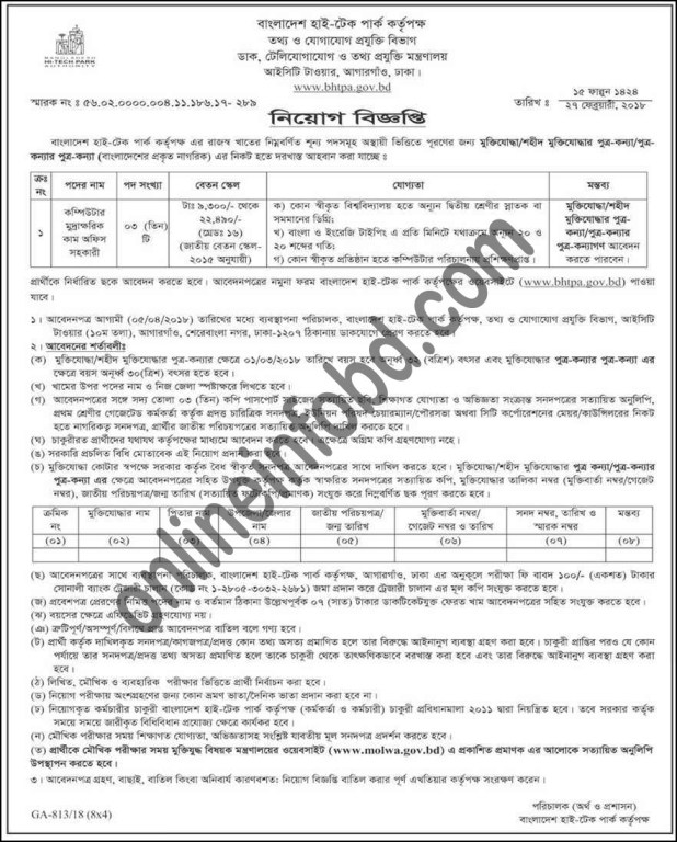 Information and Communication Technological Job Circular 2018