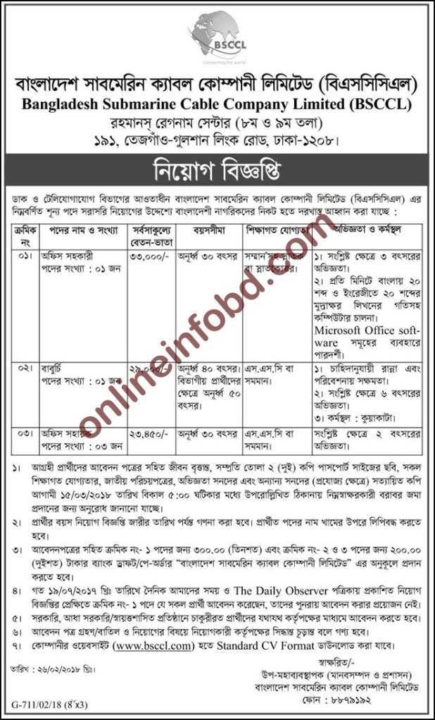 Postal and telecommunication department in Job Circular 2018 posts and telecommunications division (ptd)