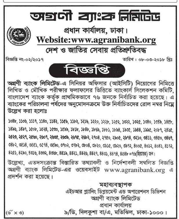 Agrani Bank Limited Job Exam Result 2018