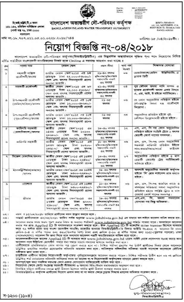 Bangladesh Inland Water Transport Authority BIWTA Job Circular 2018
