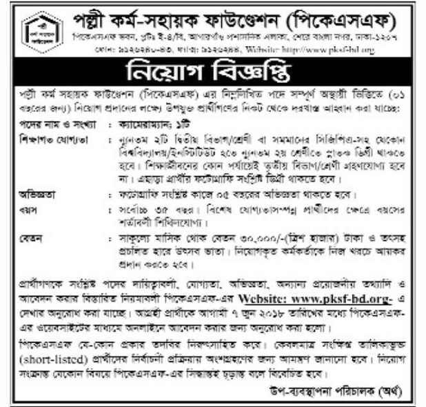 Palli Karma-Sahayak Foundation (PKSF) Job Circular 2018