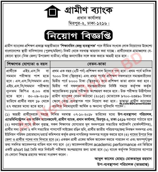 Grameen Bank Job Circular In Bangladesh