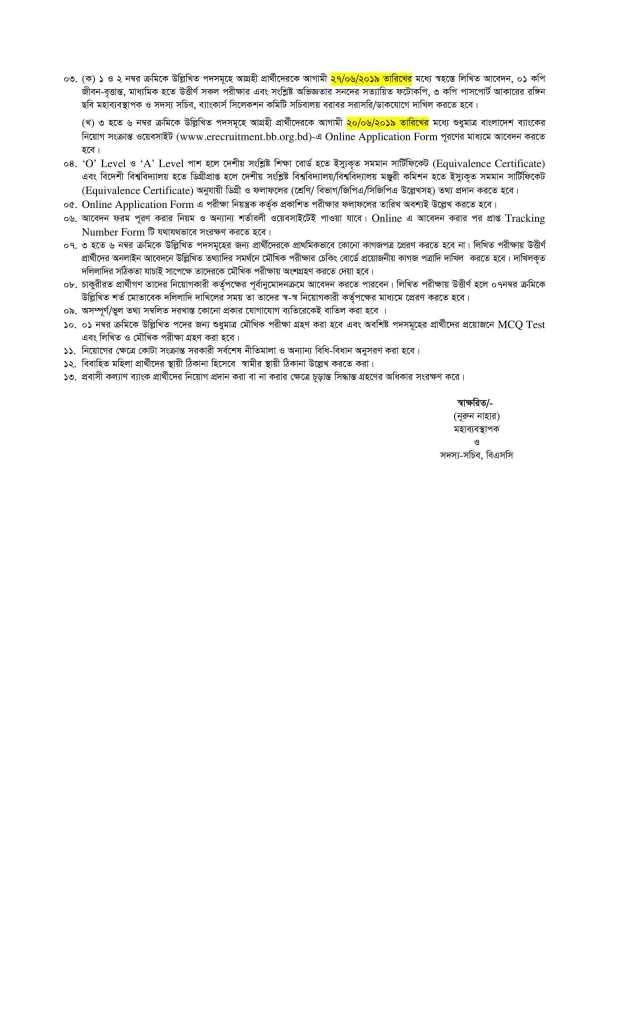 আবার বাংলাদেশ ব্যাংকে ১৬৫ পদের বিশাল নিয়োগ বিজ্ঞপ্তি প্রকাশ