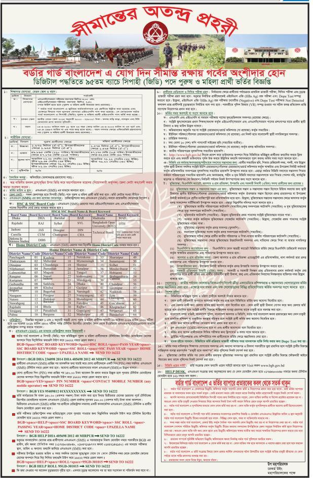 BGB Job Circular 2019 বিজিবিতে-চাকুরীর-নিয়োগ বর্ডার গার্ড বাংলাদেশ