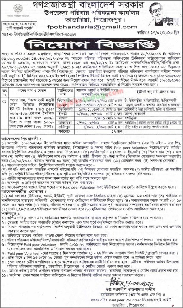 Bhandaria Upazila family planning Job circular 2020