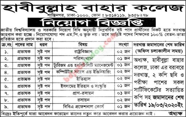 Habibullah Bahar College Job Circular 2020