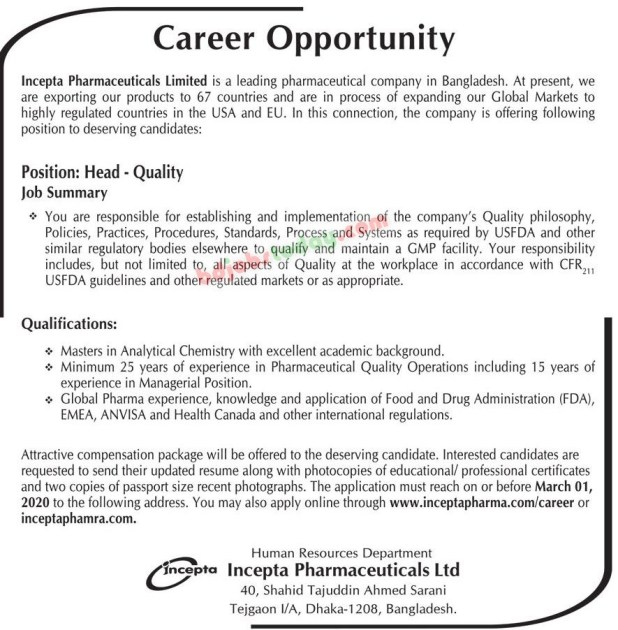 Incepta Pharmaceuticals Job Circular February 2020