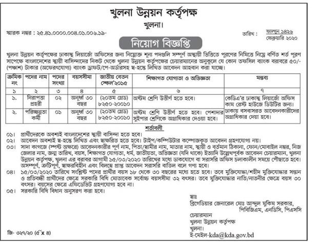 Khulna Development Authority Job Circular
