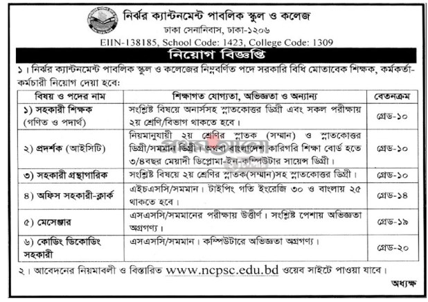 Nirjhor Cantonment Public School College Job Circular 2020