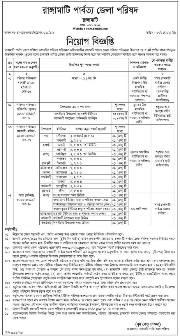Rangamati District Council Job Circular 2020