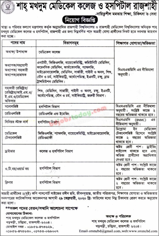 Shah Mokhdum Medical College And Hospital job circular 2020