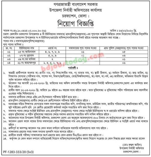 Upazila Nirbahi Officer Job Circular 2020
