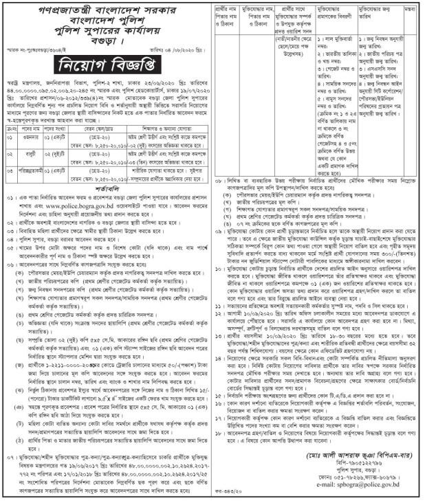 Bogra Police Super Office Job Circular 2020
