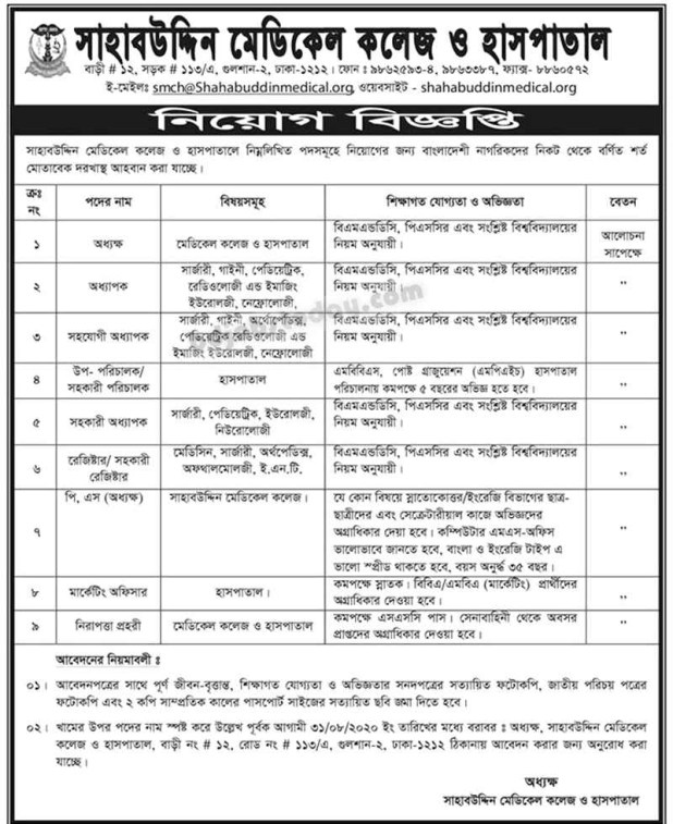 Shahabuddin Medical College and Hospital Job Circular 2020