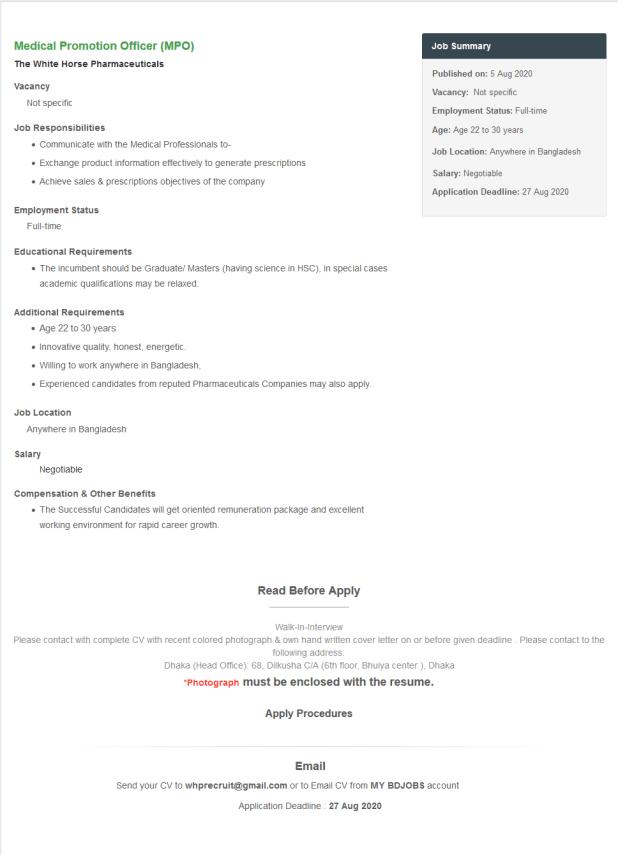 The White Horse Pharmaceuticals Ltd Job Circular August 2020
