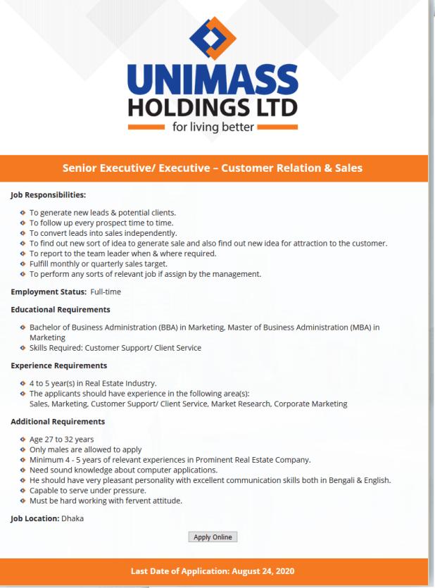 Unimass Holdings Limited Job Circular August 2020