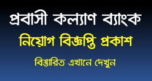Probashi Kallyan Bank PKB Job Circular 2021