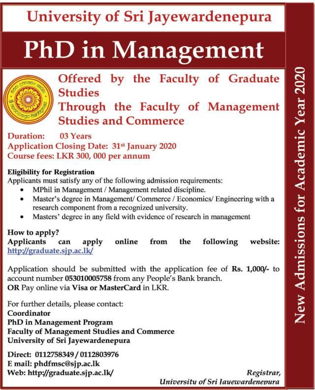 Public Management courses - University of Sri Jayewardenepura