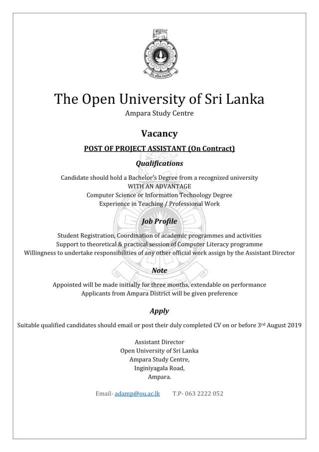 Project Assistant - The Open University of Sri Lanka