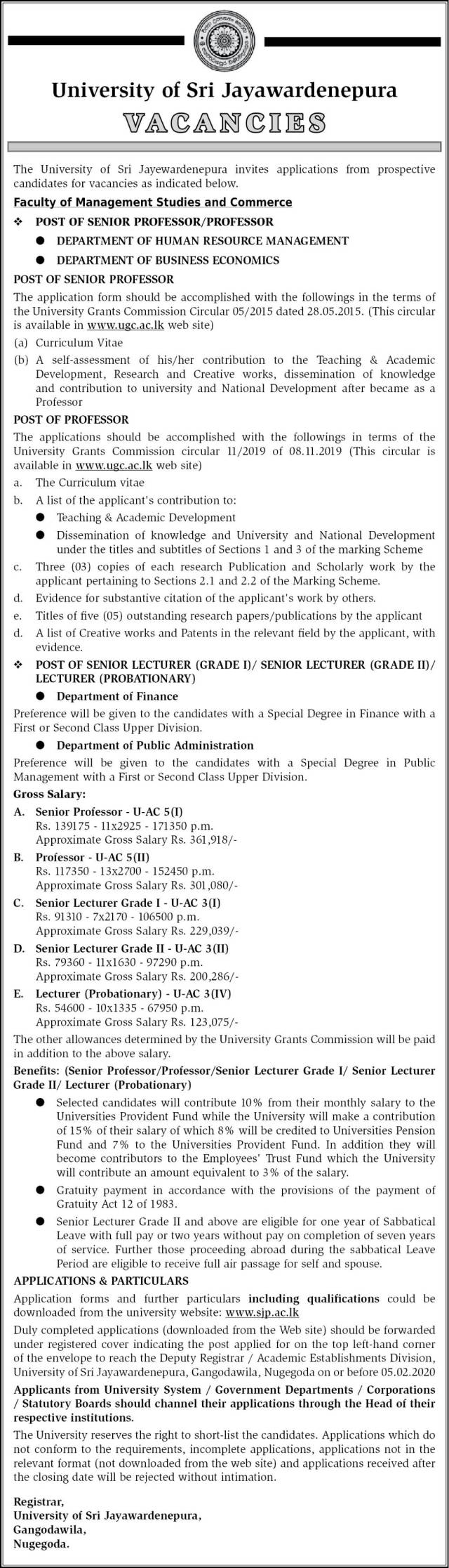 Senior Professor, Professor, Senior Lecturer, Lecturer - University of Sri Jayewardenepura
