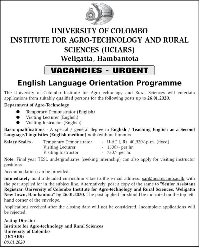 Demonstrator, Visiting Lecturer, Visiting Instructor - University of Colombo
