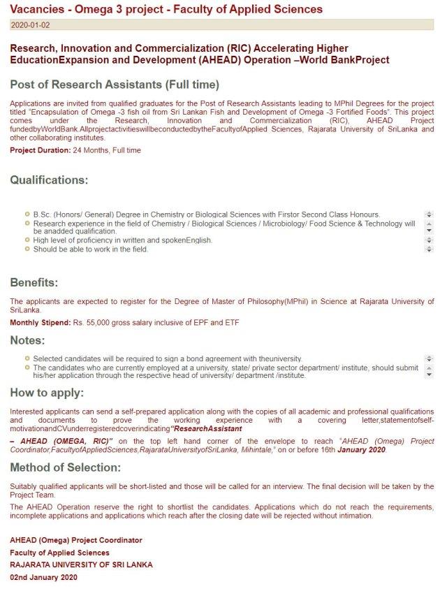 Research Assistant - Rajarata University of Sri Lanka