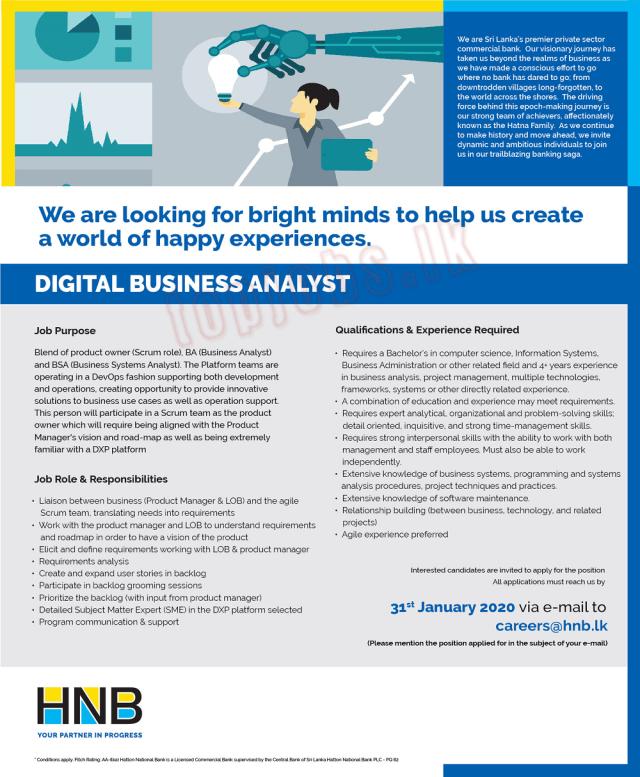 Digital Business Analyst - HNB Bank Job Vacancies 2020