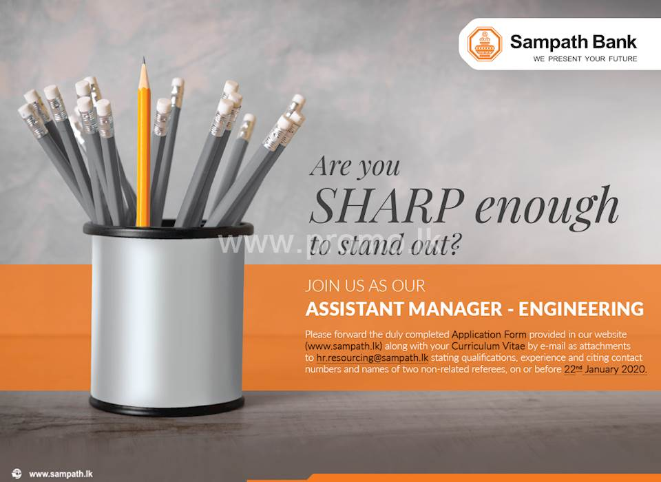 Assistant Manager - Sampath Bank Job Vacancies 2020