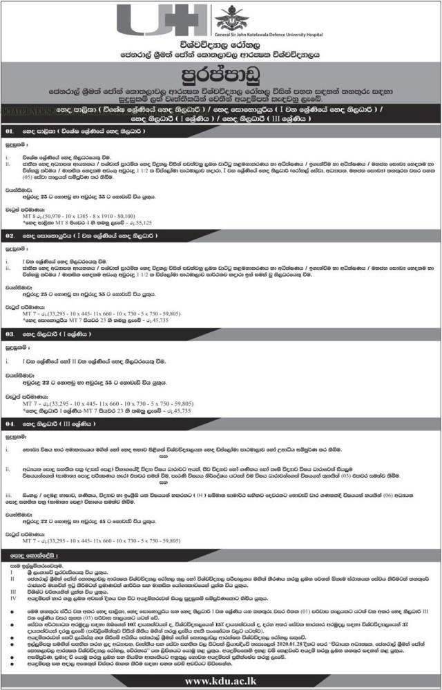 General Sir John Kotelawala Defense University Job Vacancies 2020