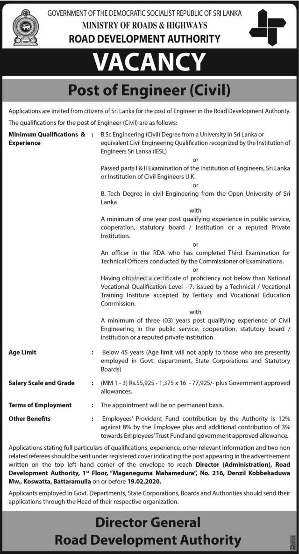 Post Of Engineer - Road Development Authority