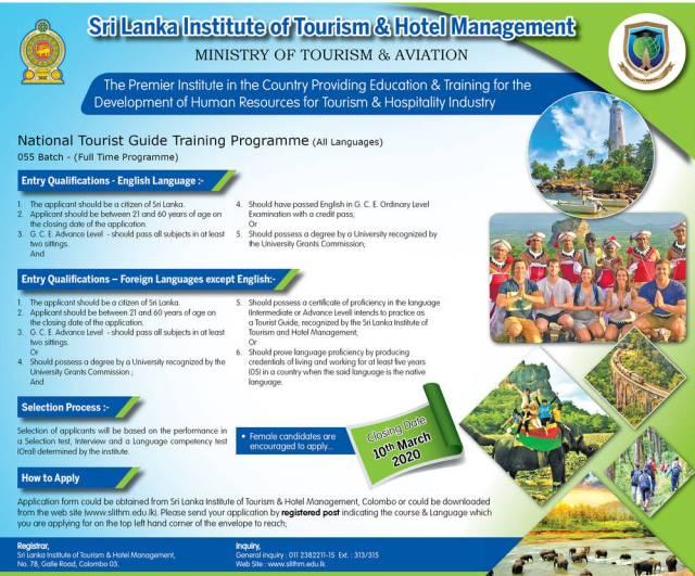National Tourist Guide Training Programme - Sri Lanka Institute of Tourism & Hotel Management