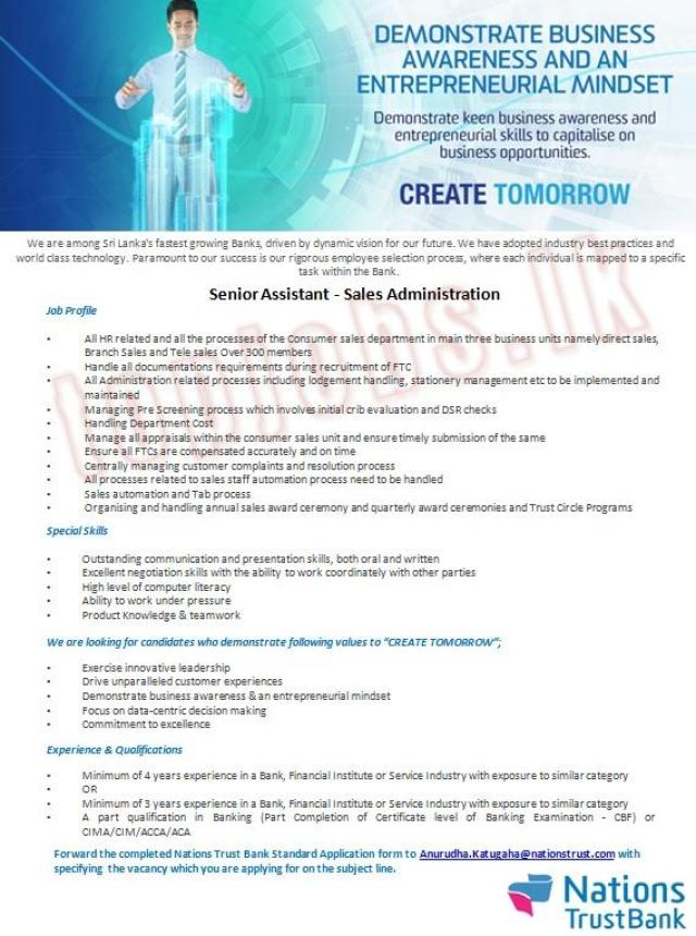 Senior Assistant (Sales Administration)- Nations Trust Bank PLC