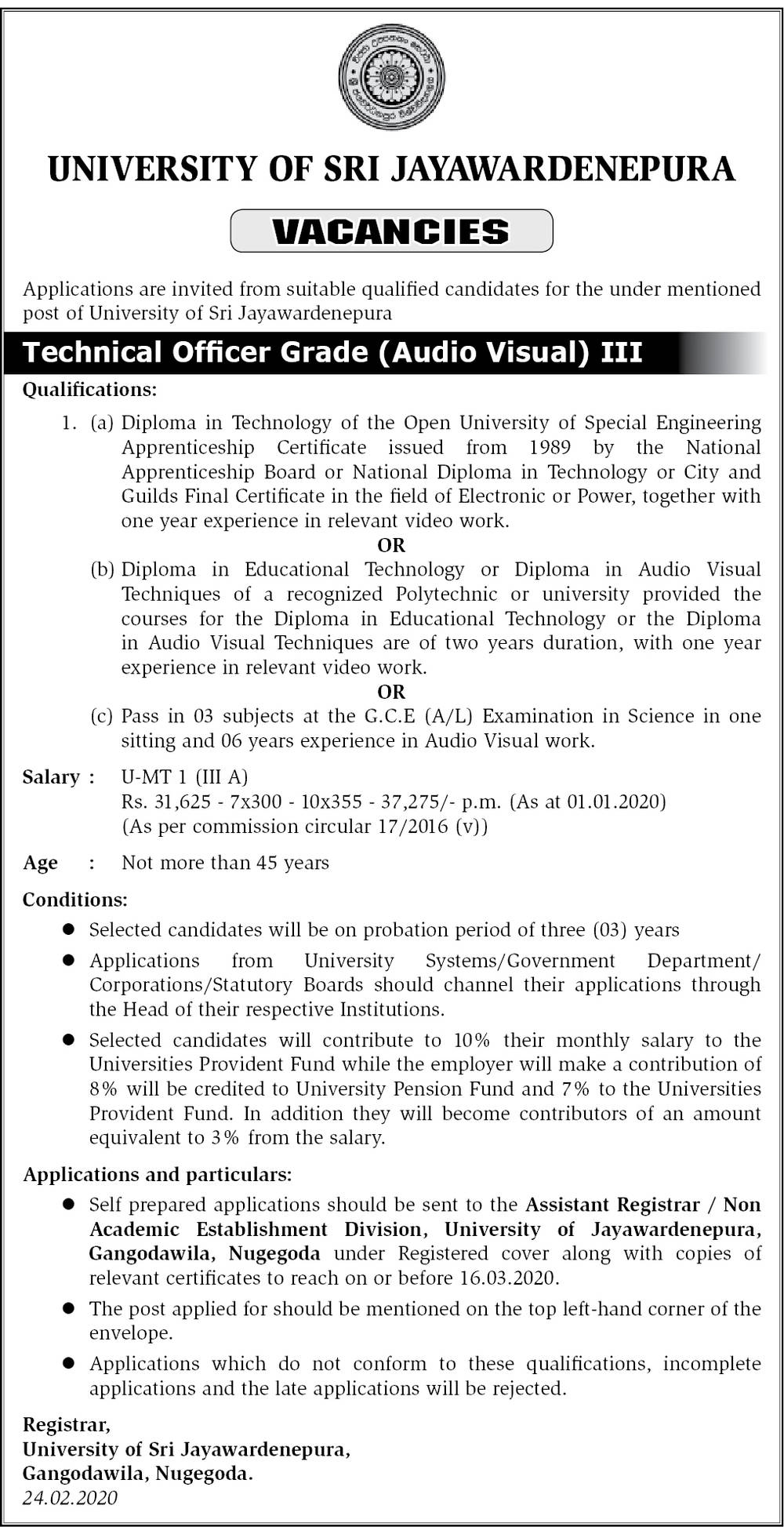 Technical Officer (Audio Visual) - University of Sri Jayewardenepura