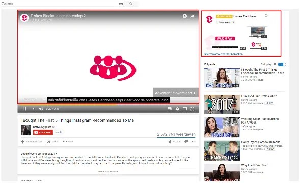 Advertenties op youtube