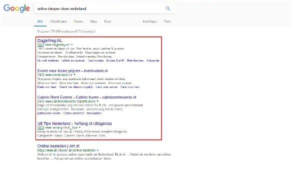 zoekresultatenpagina van Google