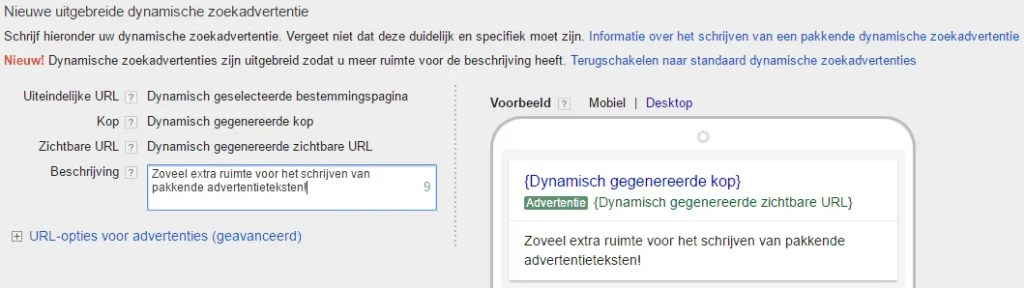 interface dynamische tekstadvertenties