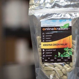 Package of the Krishna Green Malay Kratom Capsules