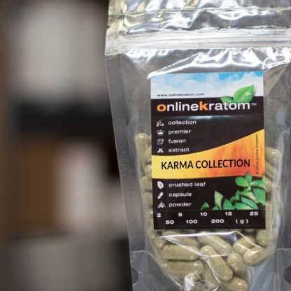 Zip pouch of the Karma Collection of kratom capsules