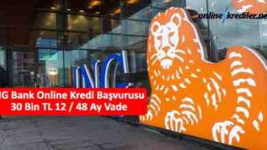 Photo of ING Bank Online Kredi Başvurusu 30 Bin TL 12 / 60 Ay Vade