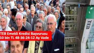 Photo of TEB Emekli Kredisi Başvurusu 10 bin TL 36-24-12 Ay Vade