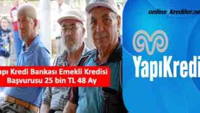 Photo of Yapı Kredi Bankası Emekli Kredisi Başvurusu 25 bin TL 36 Ay