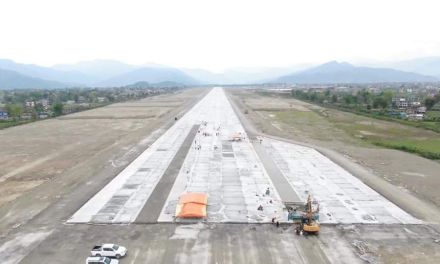 The runway at the international airport being constructed in Pokhara has been completed