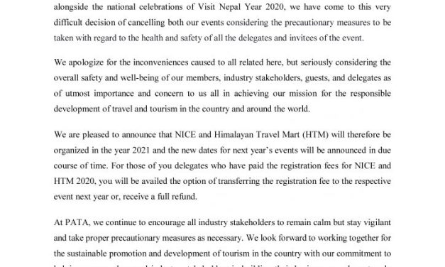 Update on NICE and Himalayan Travel Mart 2020!