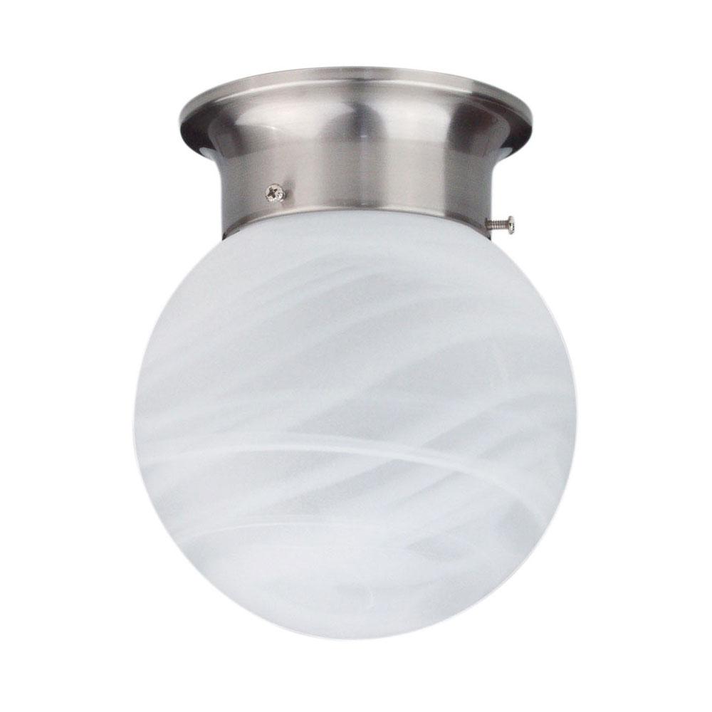 Alabaster Swirl Ball Diy Batten Fix Small Brushed Chrome